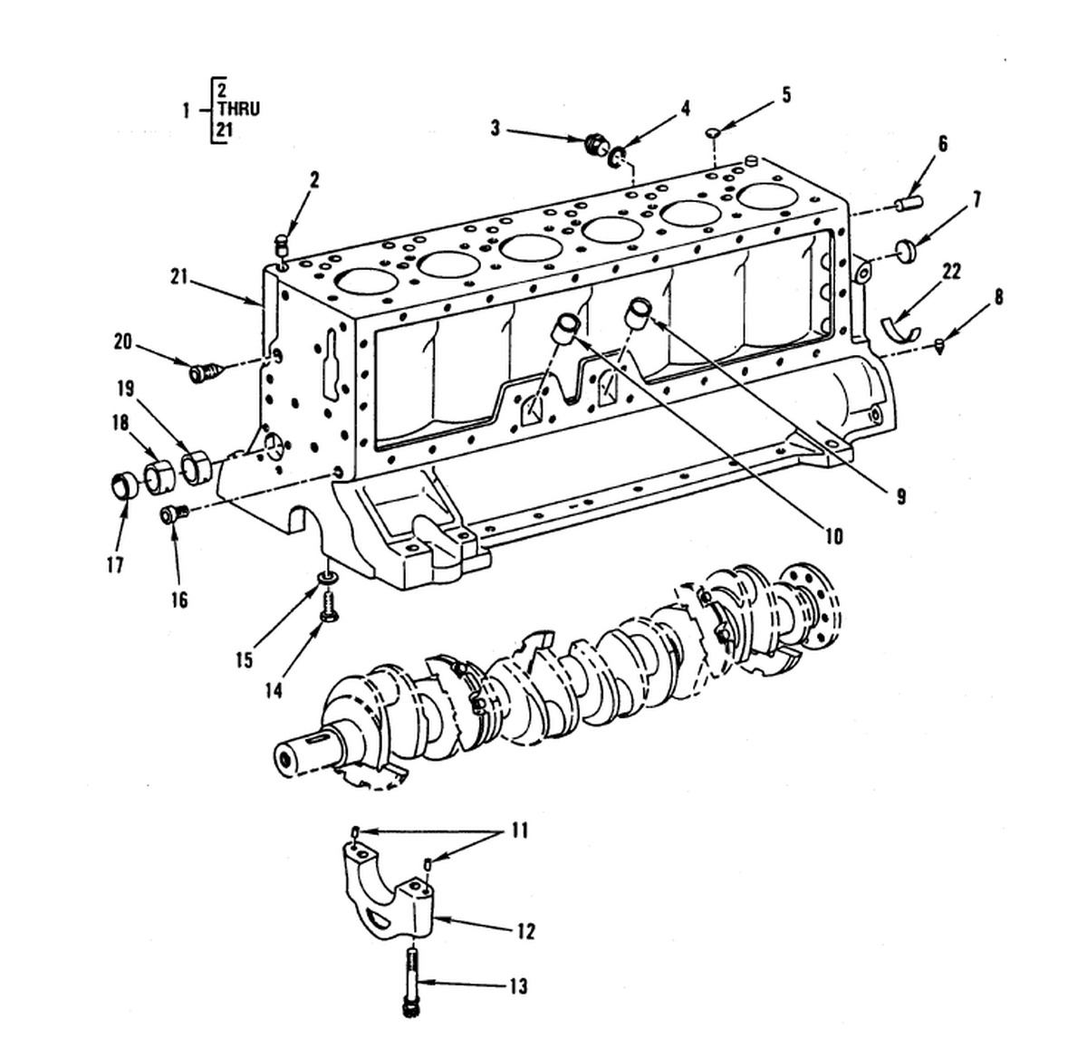 0003 00-2 Figure 2. Crankcase, Block, and Cylinder Head