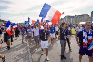 Französische Fußballfans in Russland
