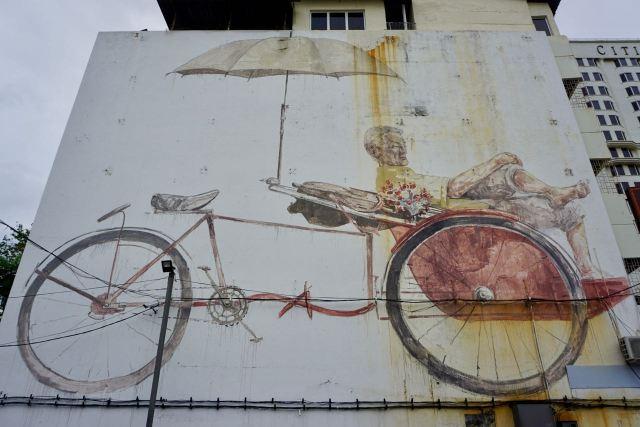 "Streetart ""Trishaw Man"" by Ernest Zacharevic"
