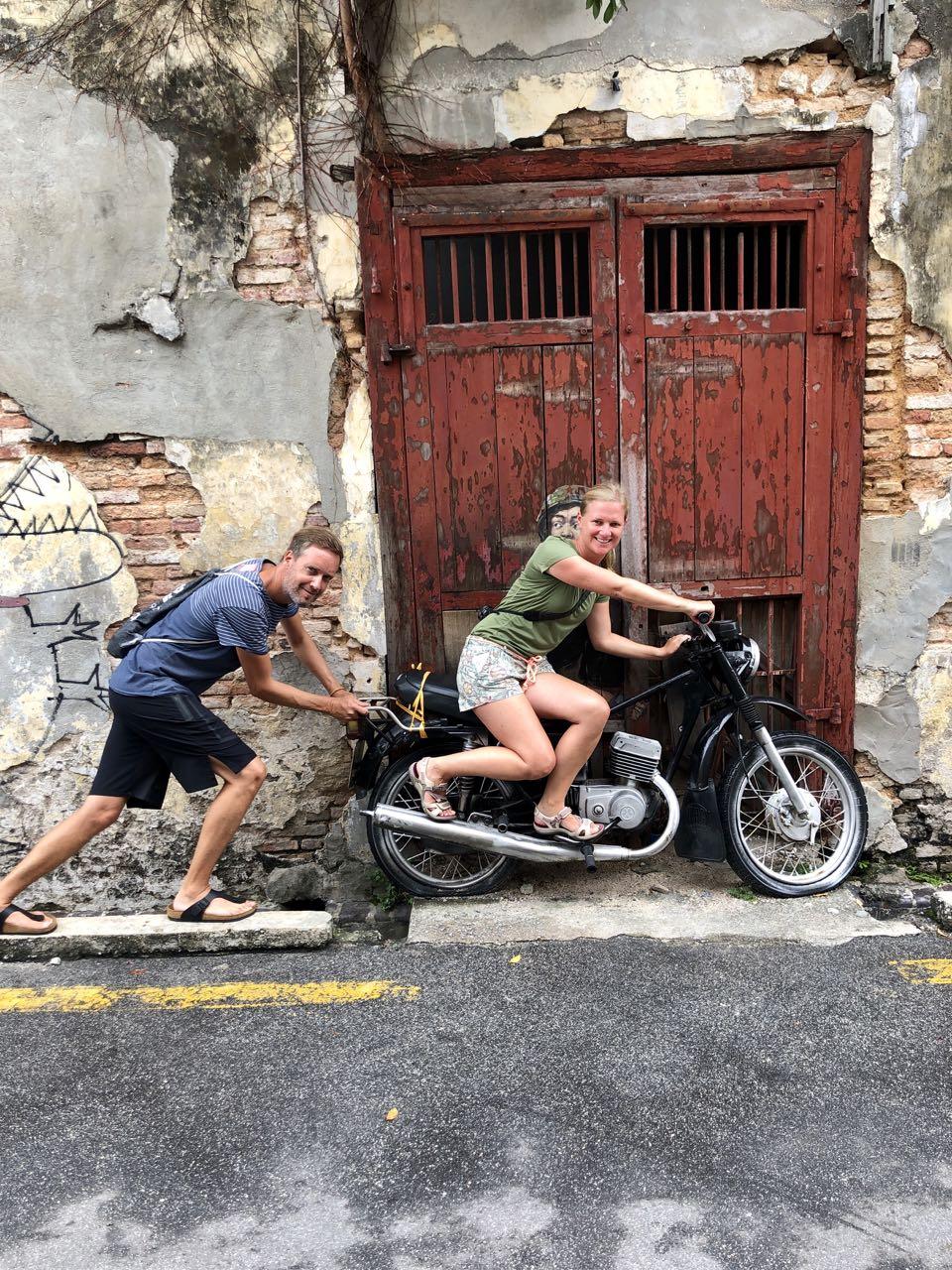 """Streetart """"Motorbike"""" in George Town"""