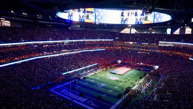 Stadion mit US-Fahne