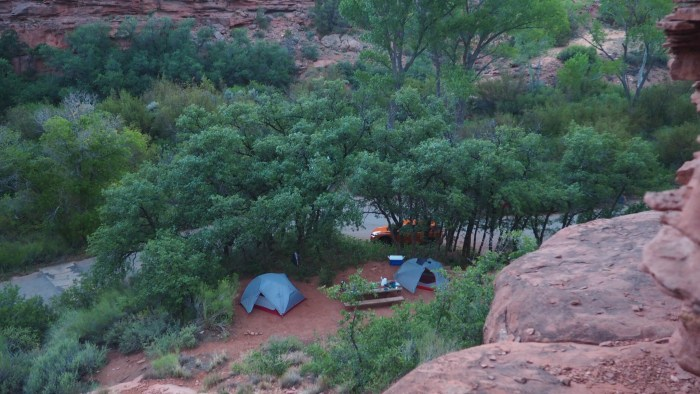 View of two tents in a wooded campground