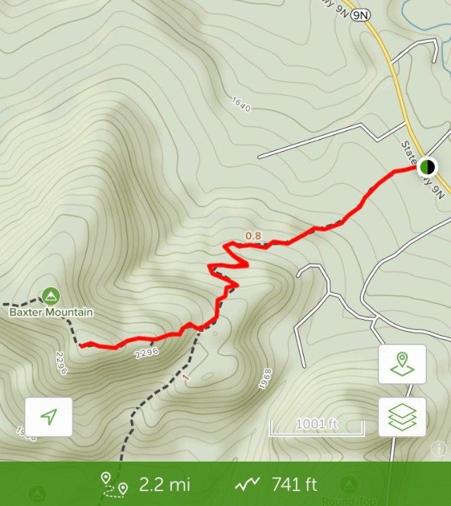 trail map of Baxter Mountain