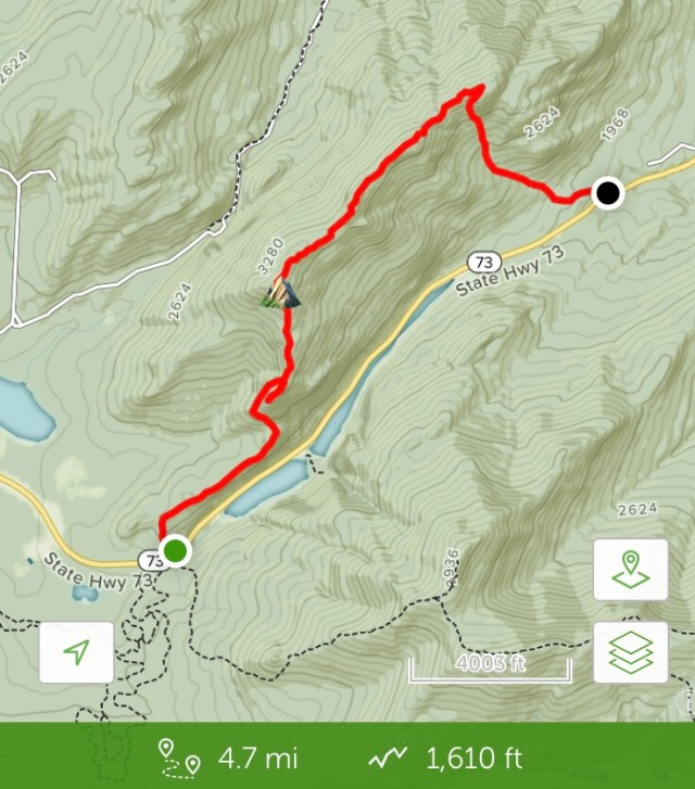 Trail Map of Pitchoff Mountain