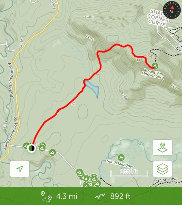 trail map of Mt Van Hoe