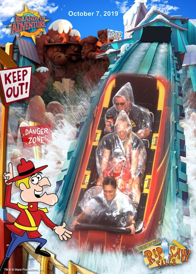 The Drop of Dudley Doo Right Rip Saw  Falls and four screaming riders