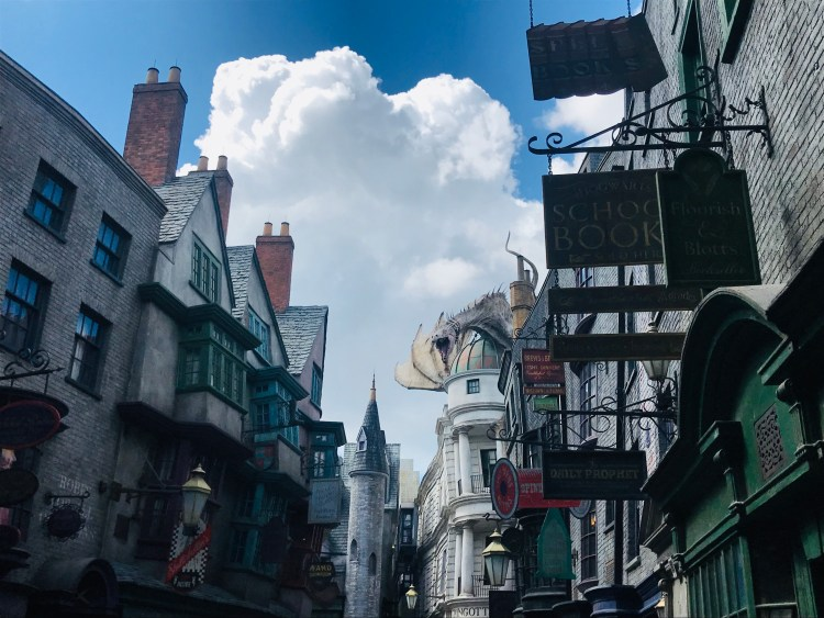 View of shops down Diagon Alley