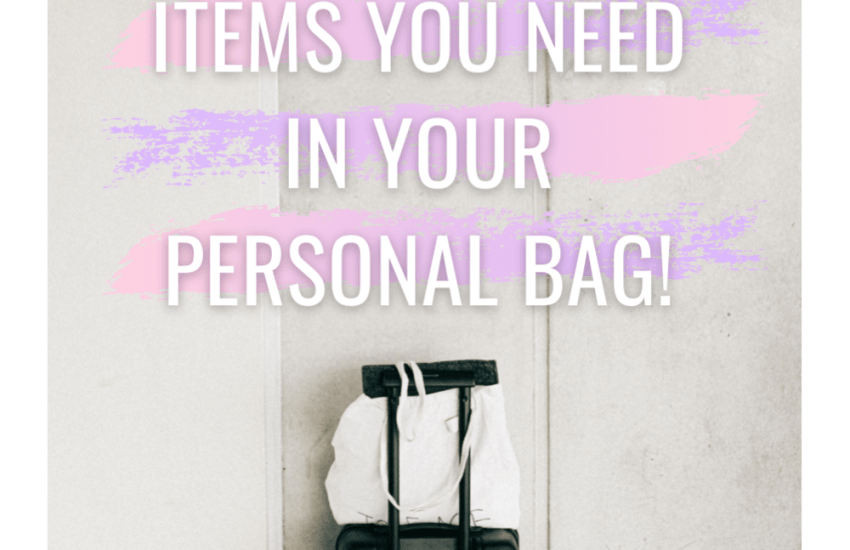 personal bag or carry on bag in front of a concrete wall
