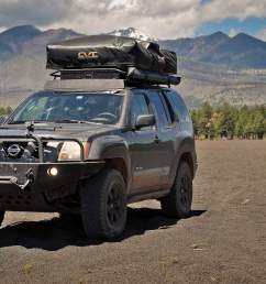 the most recent mod to the xterra is a complete 100 watt solar kit by renology in a somewhat brave moment joel drilled into his factory hood to mount the  [ 1300 x 863 Pixel ]