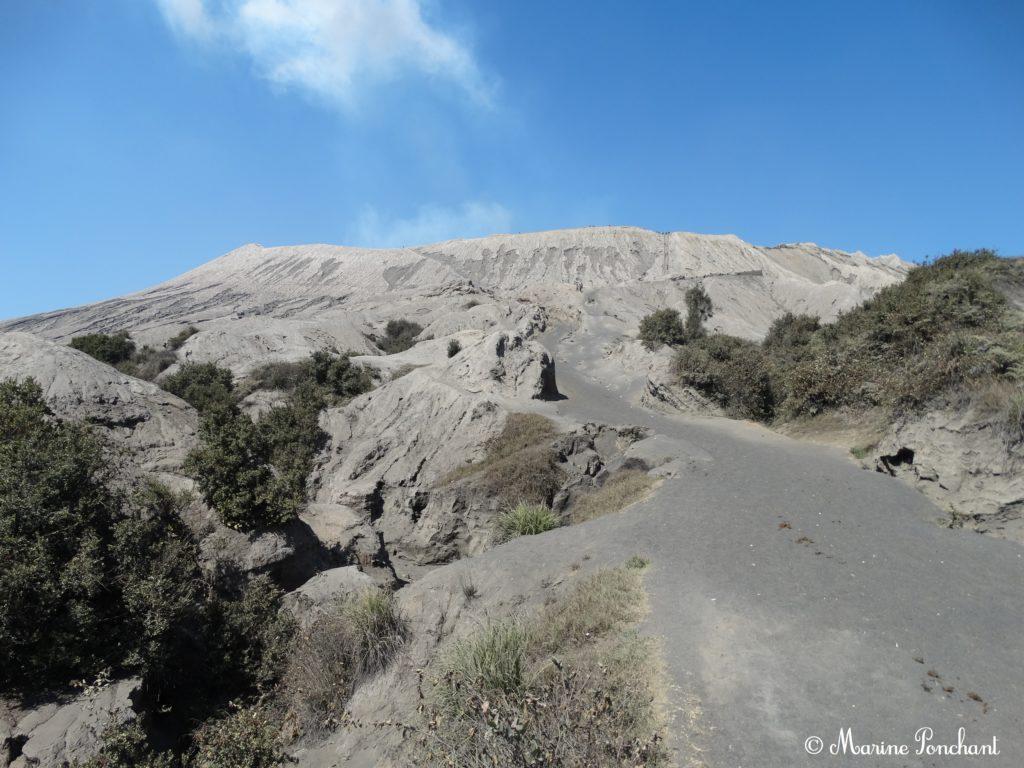 Chemin menant au cratère du volcan
