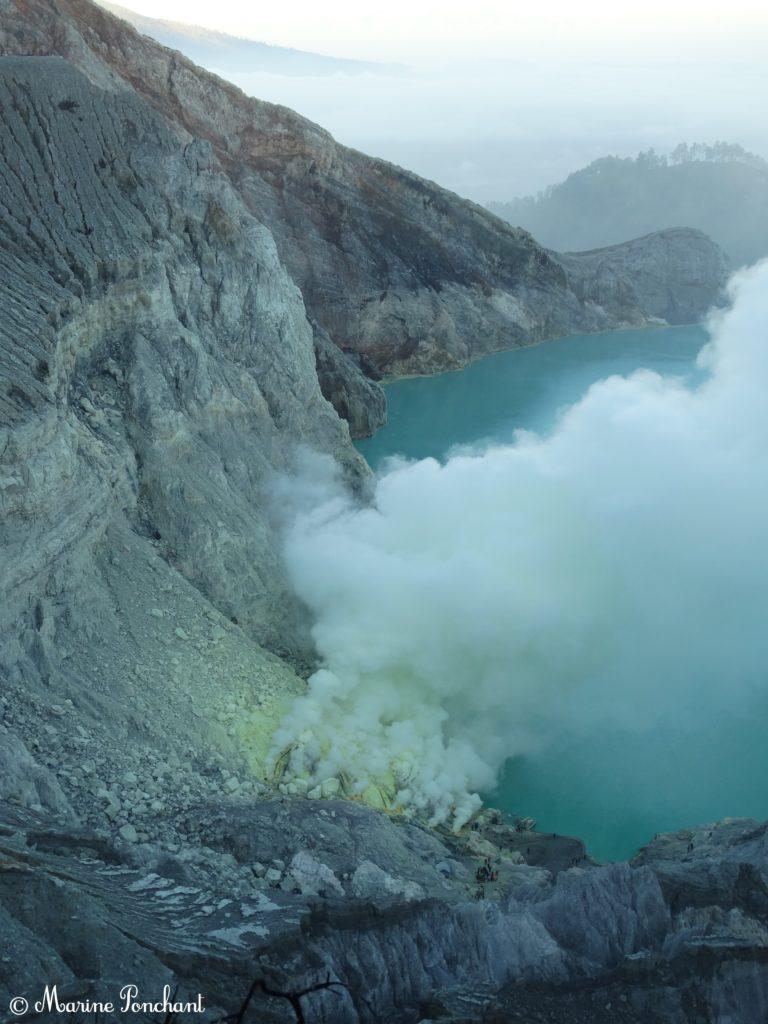 Panorama sur le lac de Ijen