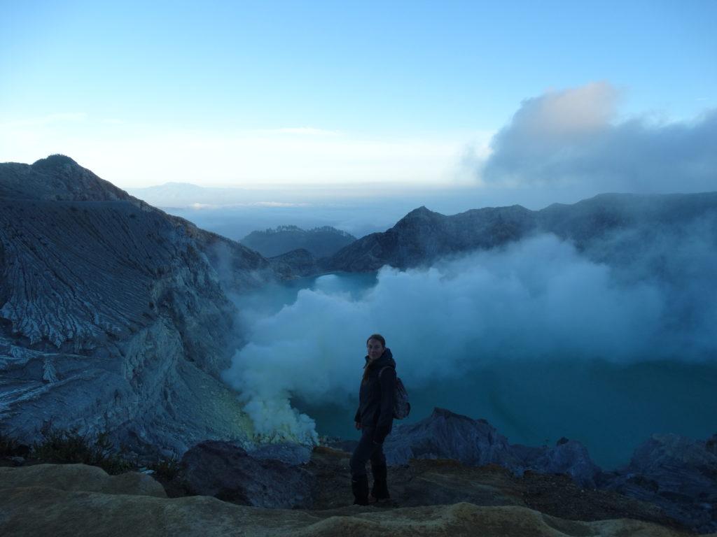 Selfie volcan Kawah Ijen après la randonnée
