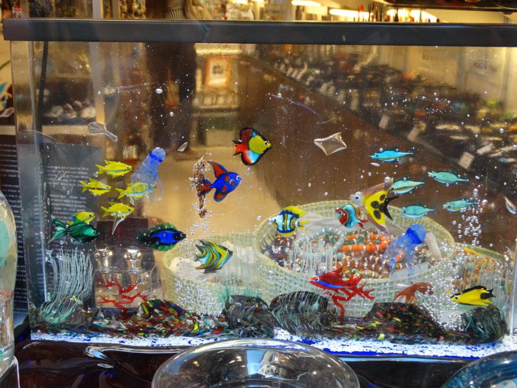 Aquarium et poissons en verre de Murano