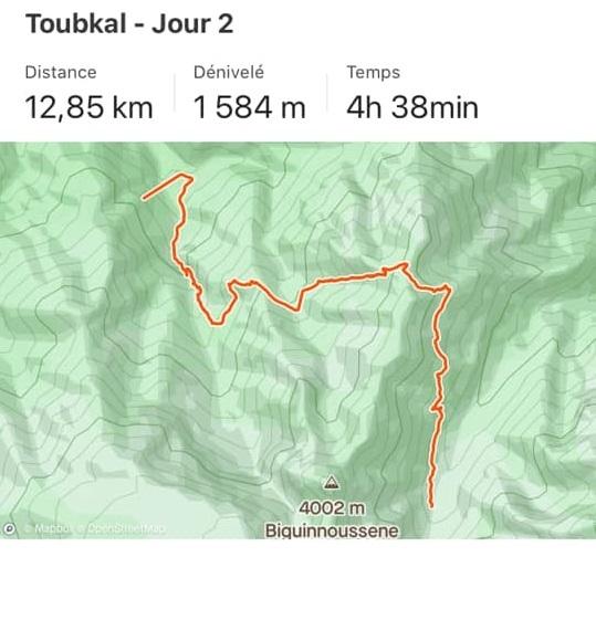 Maps jour 2 trek Toubkal