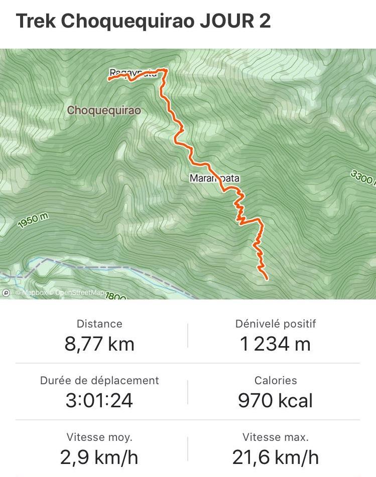 Map et descriptif jour 2 trek Choquequirao