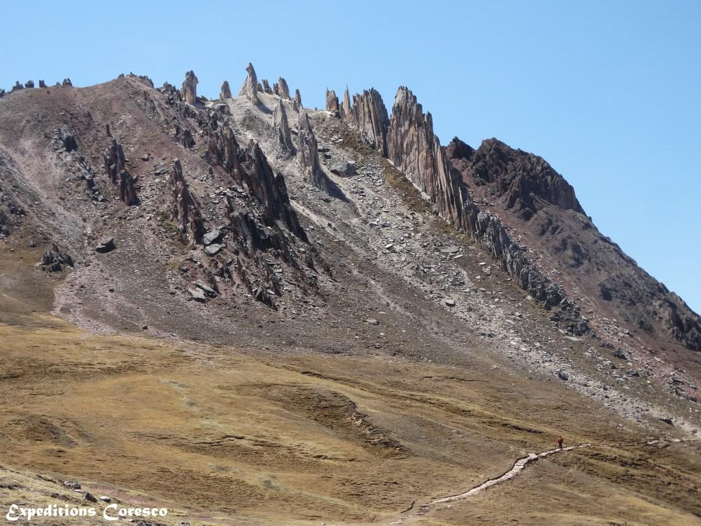 Pics rocheux non loin de la montagne Vinicunca