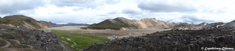 Panorama du camping du Landmannalaugar