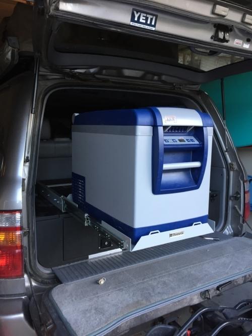 Dometic fridge slide in action... carrying an ARB fridge freezer