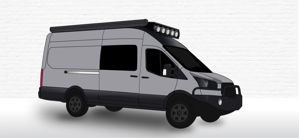 4x4 converted ford transit illustration, with roambuilt rack and aluminess front bumper