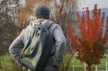The Orvis waterproof sling pack