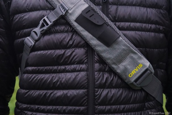Front attachment system of the Orvis waterproof sling pack
