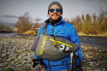 The Orvis waterproof sling pack in front