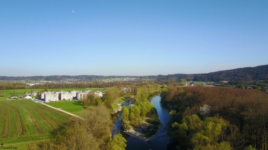 The Aare in Switzerland while fly fishing for barbel