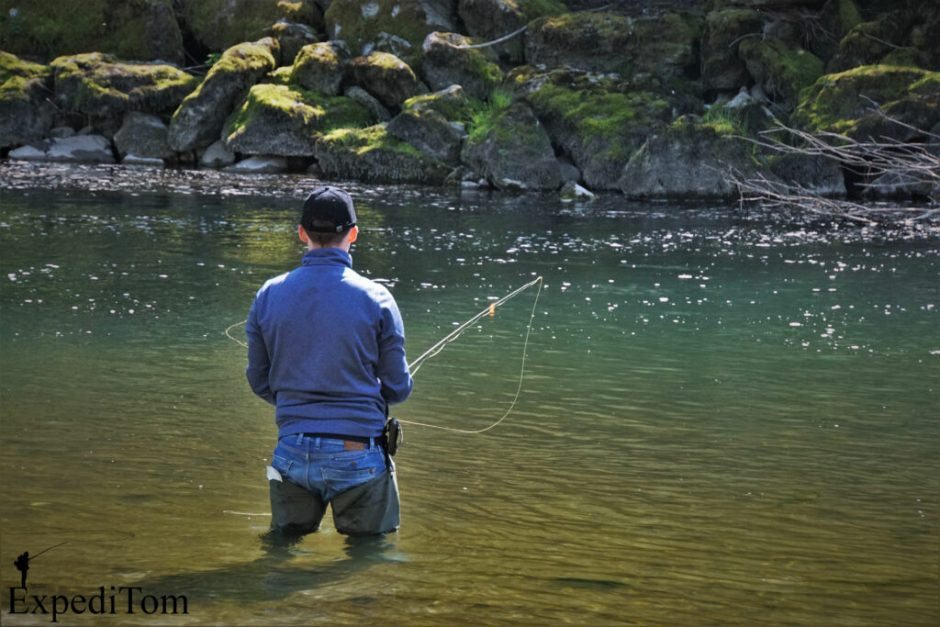 Jan fly fishing the Aare river in Switzerland with an indicator nymph rig