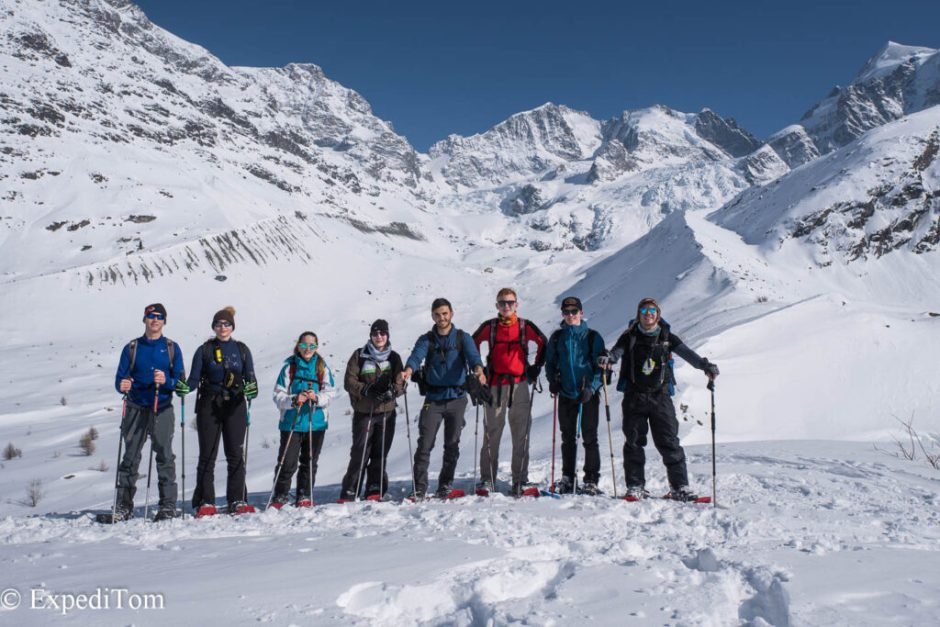 The crew on the expedition to the ice caves in Switzerland