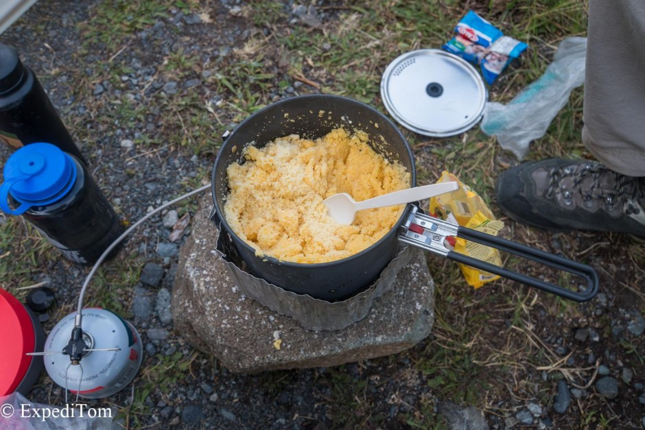 Previous attempt at cooking polenta outdoors during our Huemul trek