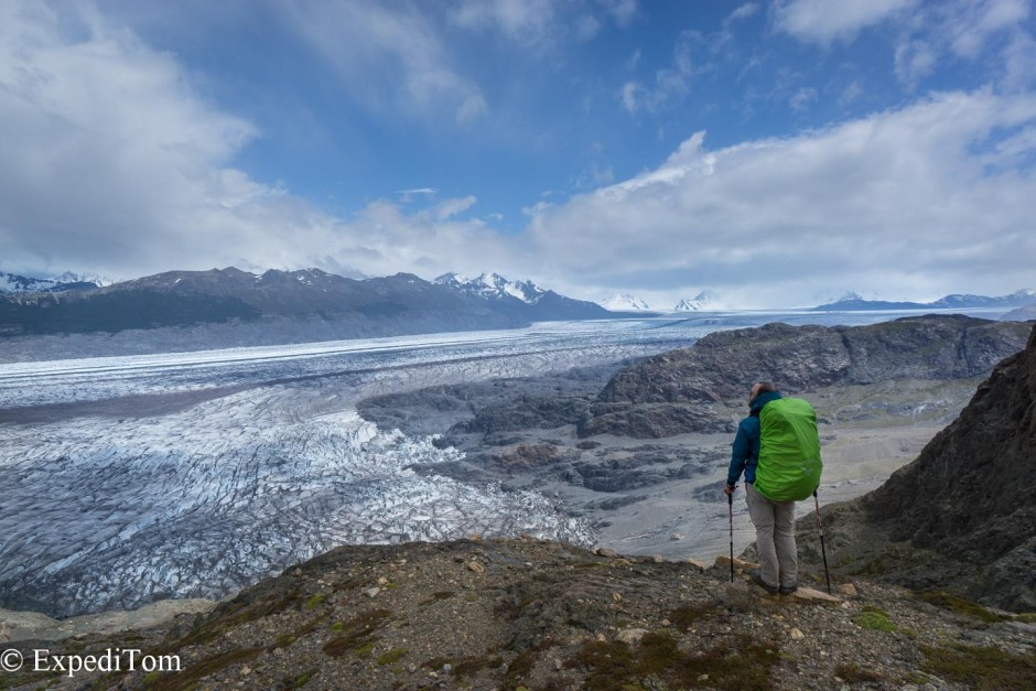 On the way up to the Paso de Huemul on the Huemul trek enjoying the last views of the Viedma glacier which is part of the Campo de Hielo Sur (Southern Patagonian Icefield)