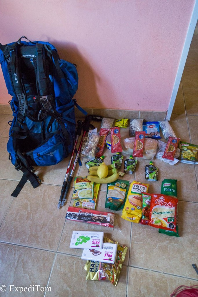 The food we packed and here is the gear list