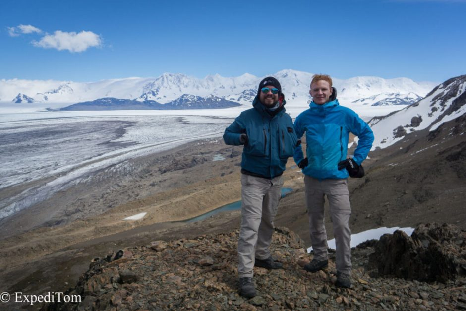 ExpediTom and Phil on the Paso del Viento in front of the Campo de Hielo Sur (Southern Patagonian Ice field) the third largest icefield on earth
