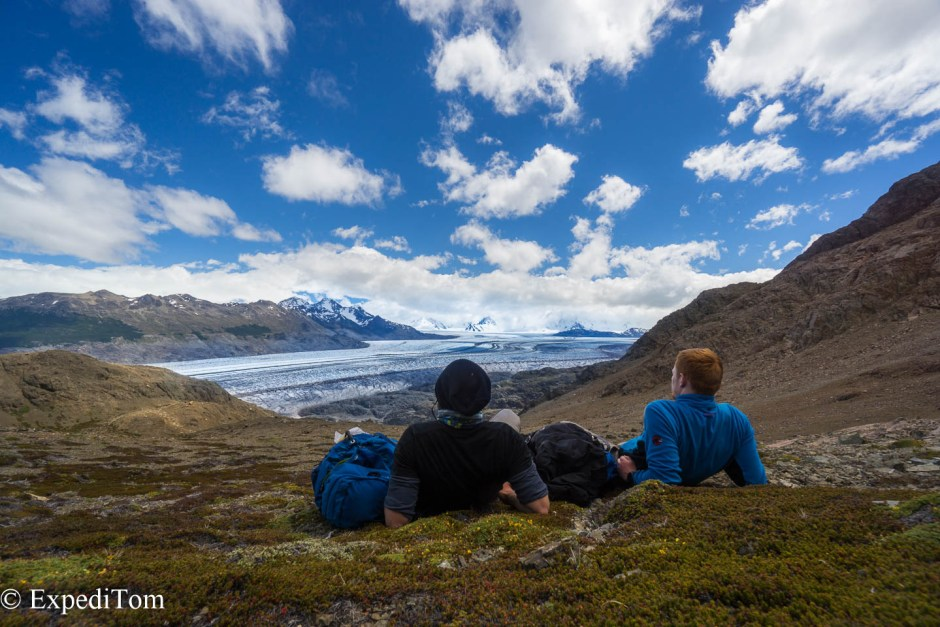 On the Paso de Huemul on the Huemul trek enjoying the last views of the Viedma glacier which is part of the Campo de Hielo Sur (Southern Patagonian Icefield)