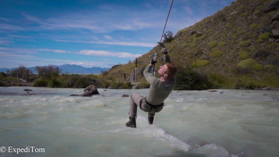 Second zip line of the Huemul trek in Argentina over a large river.