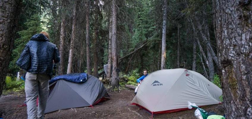 Sleeping setup on the Mount Assiniboine Trek Junction