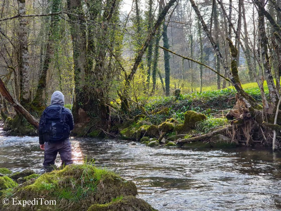 Fly Fishing in Switzerland in the backcountry of the Jura mountains with Tiger trout
