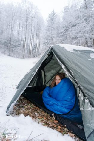 Winter camping and testing gear