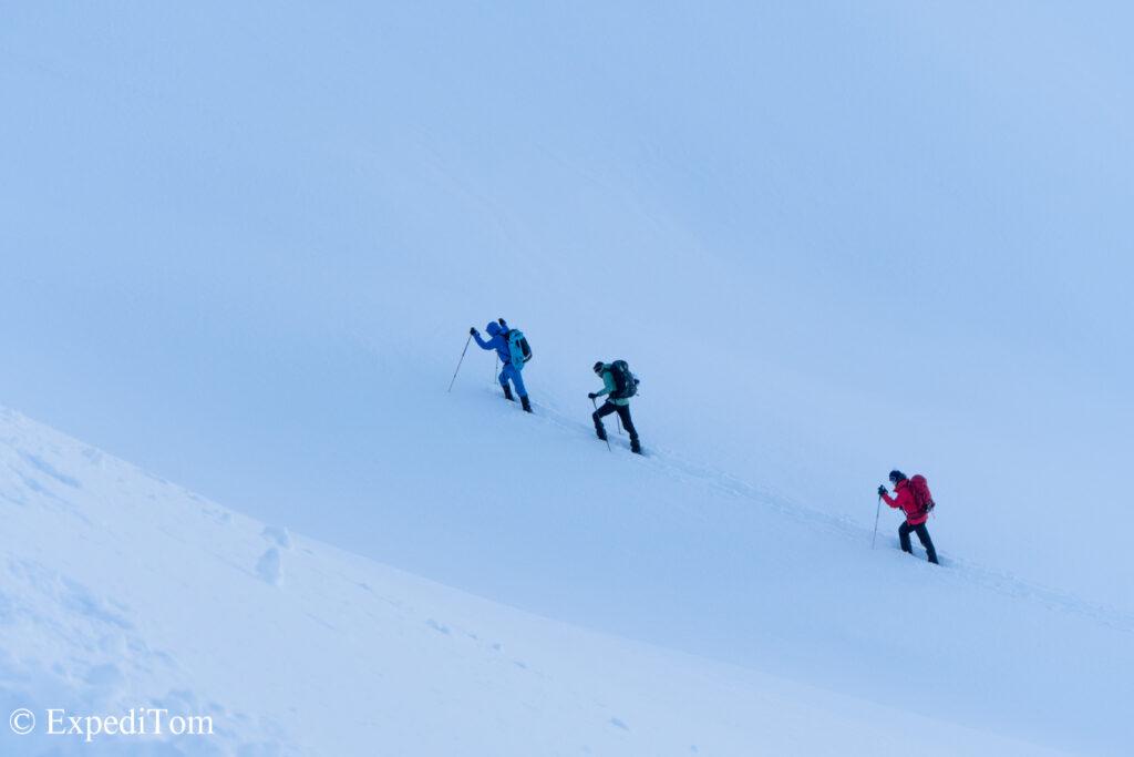 Heading up the steep slopes