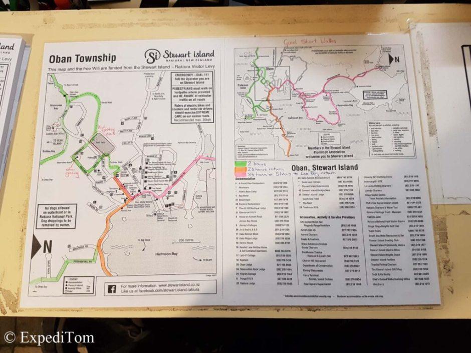 Map by Stewart Island backpackers