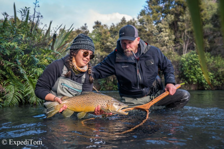 Theresa and Claudio with a stunning brown trout from the Taupo region