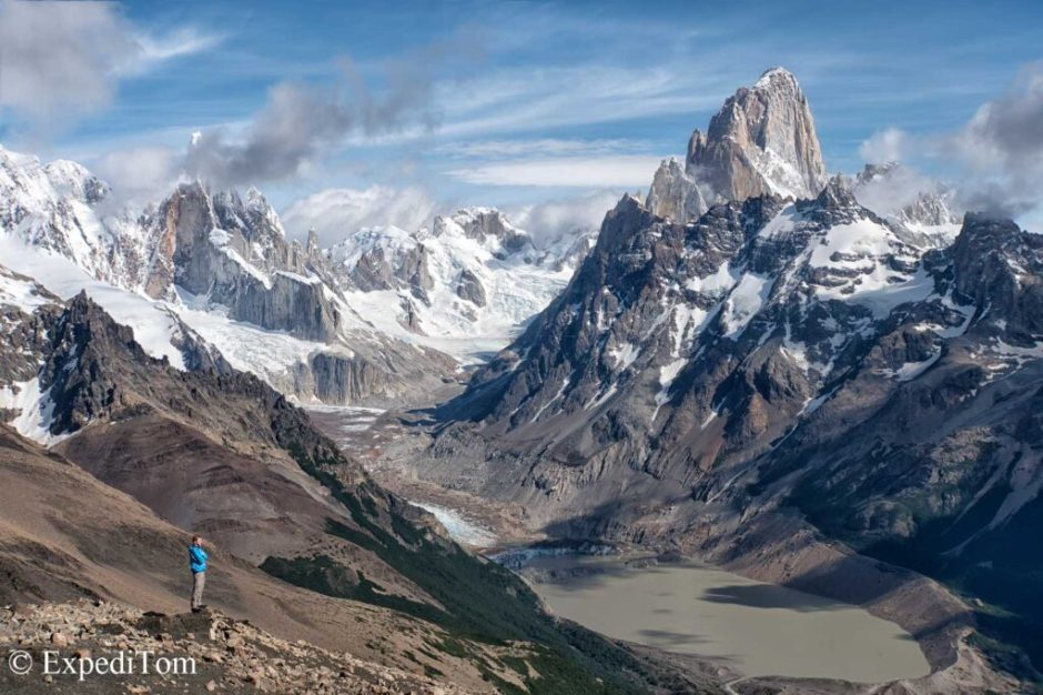 Fitz Roy (right) and Cerro Torre (left) in Patagonia
