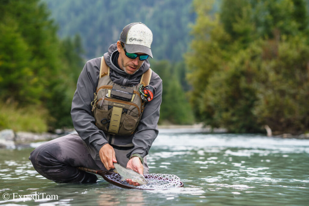 Rewarding catch caught on a dry fly during runoff