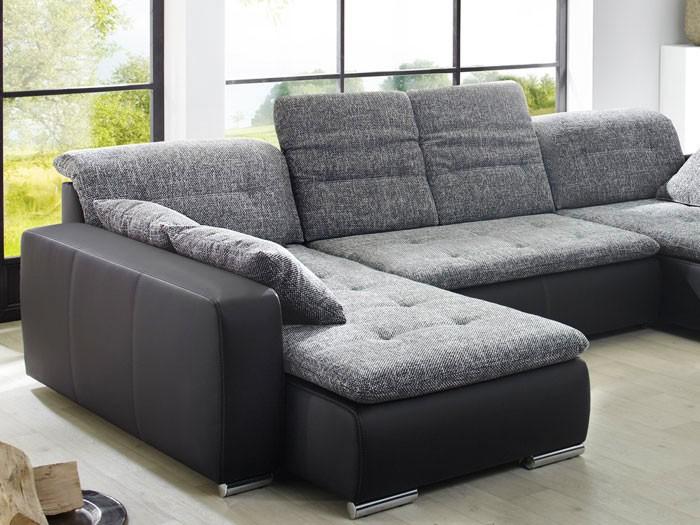 Sofa Couch Ferun 365x200185cm Webstoff anthrazit