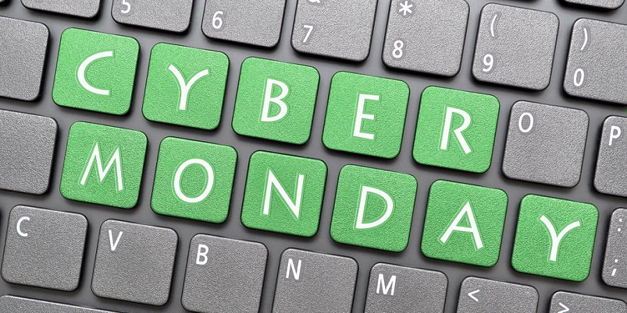 "Pictured: a keyword with ""Cyber Monday"" overlaid on some of the keys."