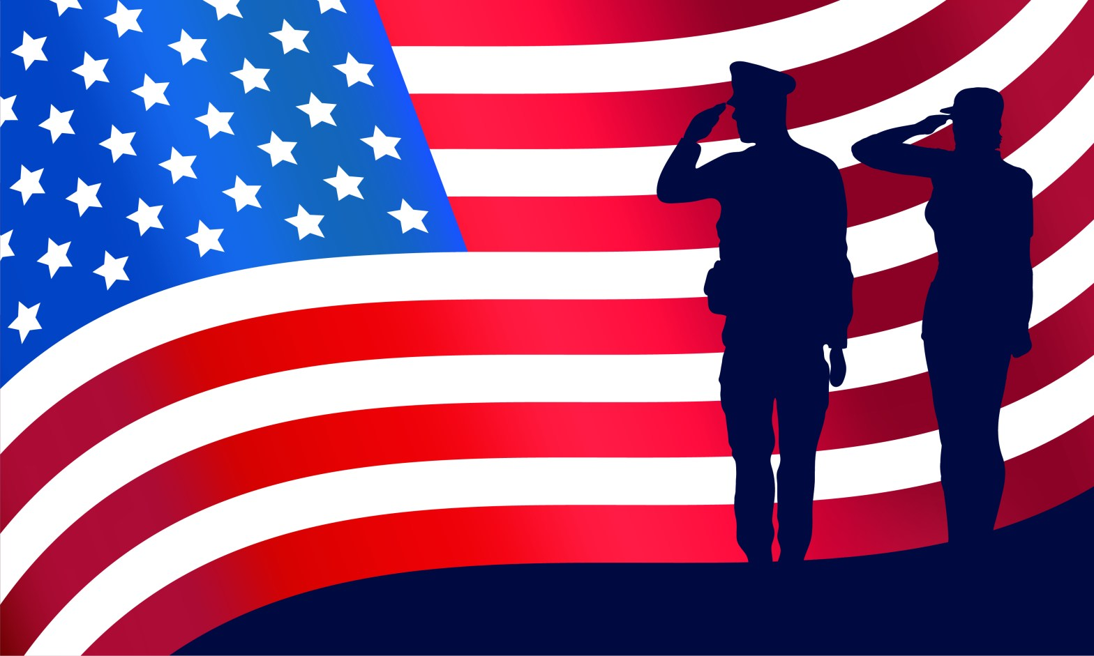 American Flag with two military personnel silhouettes