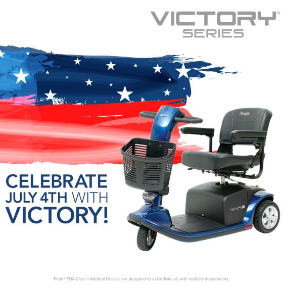 Victory scooter in front of a flag graphic