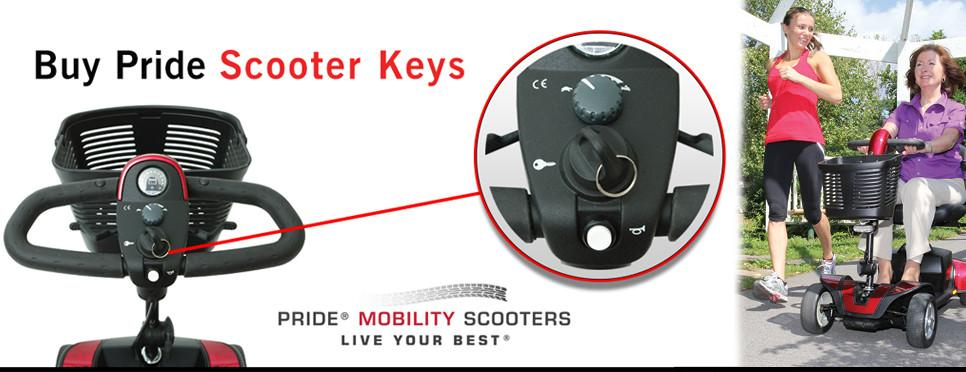 How to order pride scooter keys text on a white background showing a tiller with scooter key.