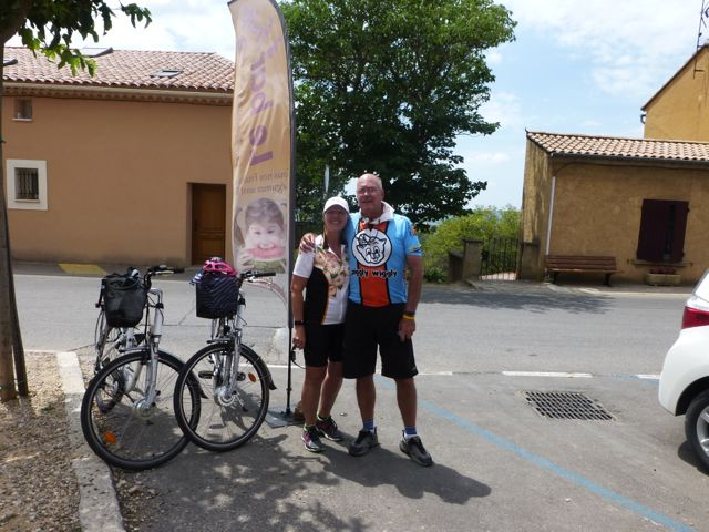 My husband Russ and I in Roussillon with our Sun-e-Bikes