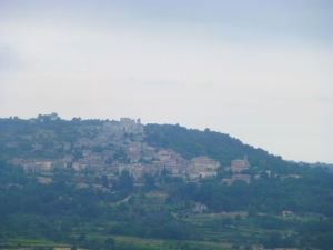 View of Lacoste on a rainy morning from dining room